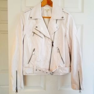 silence + noise by URBAN OUTFITTERS White Faux Leather Moto Jacket Like New